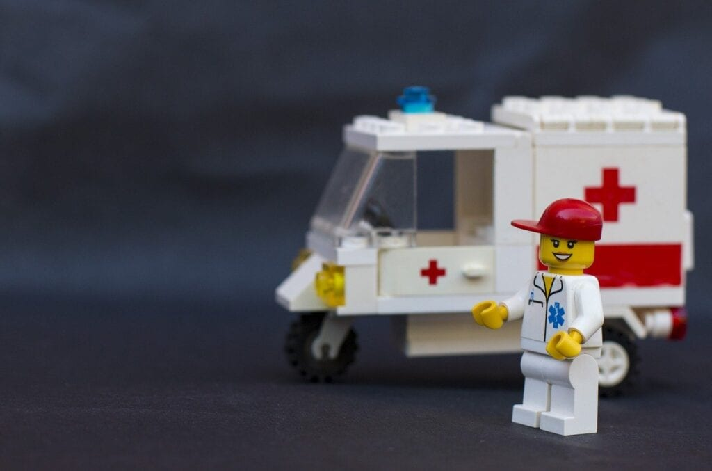 A toy ambulance