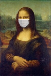 Mona Lisa wears a mask to protect her health