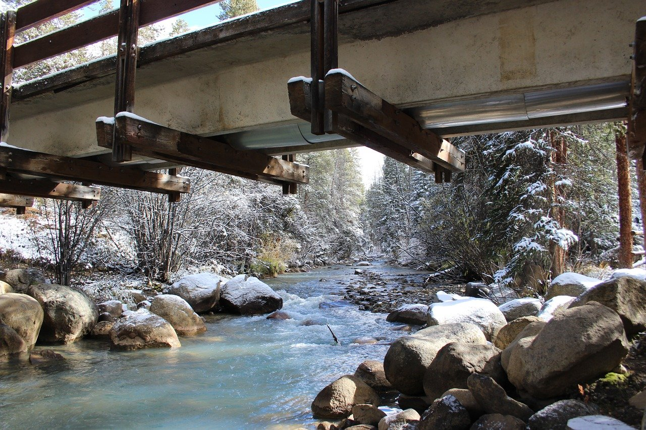 Path bridge, snow, spanning a stream